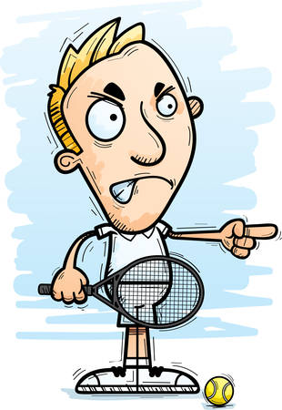 A cartoon illustration of a man tennis player looking angry and pointing.