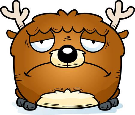 A cartoon illustration of a little deer with a sad expression. Illusztráció