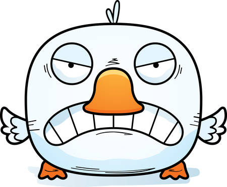 A cartoon illustration of a little duckling with an angry expression. Иллюстрация