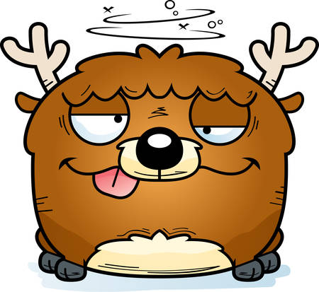 A cartoon illustration of a little deer with a goofy expression. Ilustrace