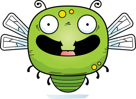 A cartoon illustration of a dragonfly smiling.