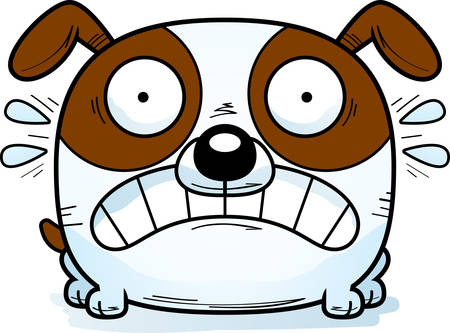 A cartoon illustration of a dog looking terrified.