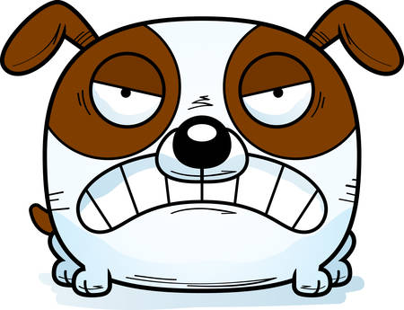 A cartoon illustration of a dog looking mad. Illustration