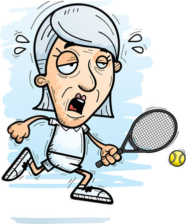 A cartoon illustration of a senior citizen woman tennis player running and looking exhausted. Ilustração