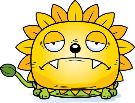 A cartoon illustration of a dandelion lion with a sad expression. Stock Illustratie