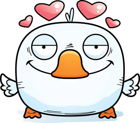 A cartoon illustration of a little duckling with an in love expression.
