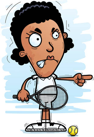 A cartoon illustration of a black woman tennis player looking angry and pointing.