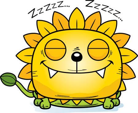 A cartoon illustration of a dandelion lion taking a nap.