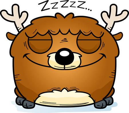 A cartoon illustration of a little deer taking a nap.