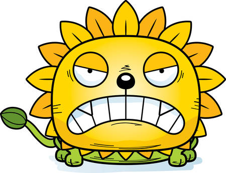 A cartoon illustration of a dandelion lion with an angry expression.
