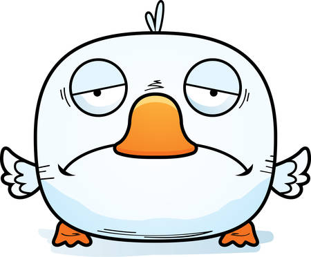 A cartoon illustration of a little duckling with a sad expression.