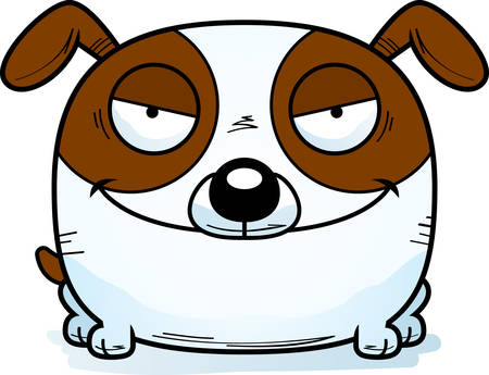 A cartoon illustration of a sinister looking dog.