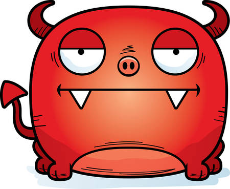 A cartoon illustration of a little devil looking calm. Ilustração
