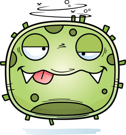 A cartoon illustration of a germ looking drunk. Stock Illustratie