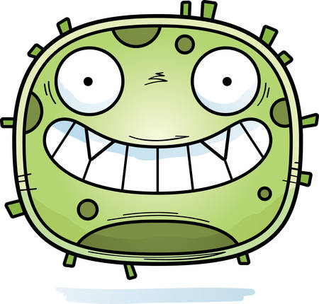 A cartoon illustration of a germ looking happy. 向量圖像