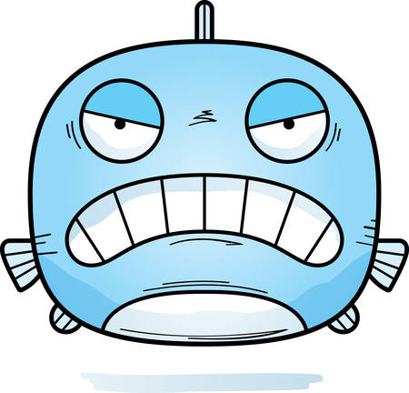 A cartoon illustration of a fish looking angry.  イラスト・ベクター素材