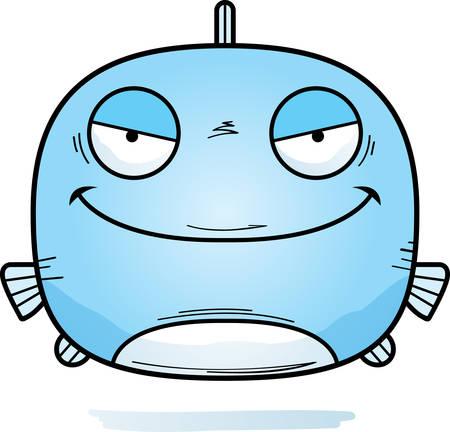 A cartoon illustration of an evil looking fish. 写真素材 - 103847534