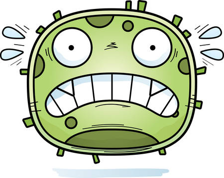 A cartoon illustration of a germ looking scared.
