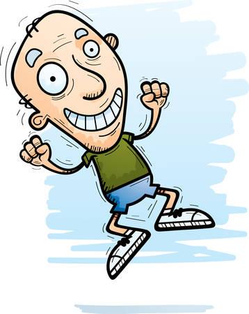 A cartoon illustration of a senior citizen man jumping.