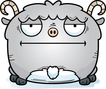 A cartoon illustration of a little goat looking calm.