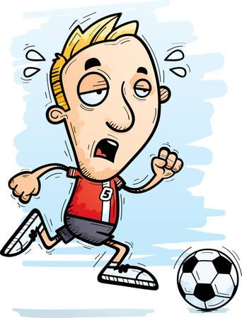 Eine Karikaturillustration eines Mannfußballspielers, der läuft und erschöpft schaut. Vektorgrafik
