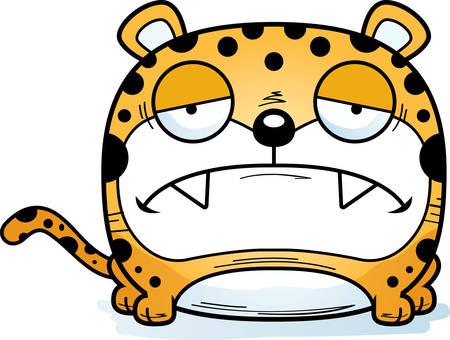 A cartoon illustration of a leopard cub with a sad expression.