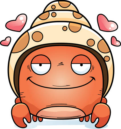 A cartoon illustration of a hermit crab in love.