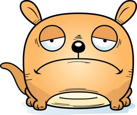 A cartoon illustration of a little kangaroo looking sad.