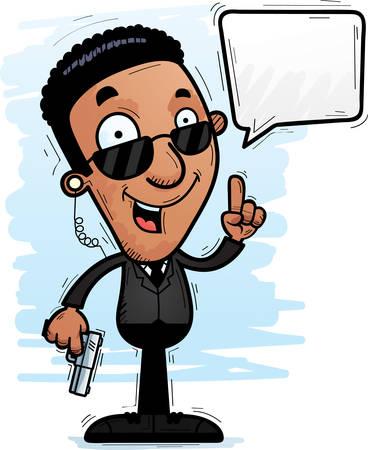 A cartoon illustration of a black man secret service agent talking.