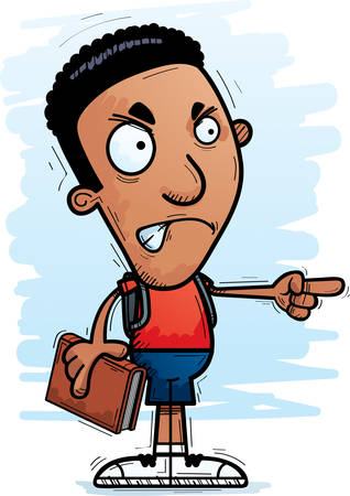 A cartoon illustration of a black man student looking angry and pointing.