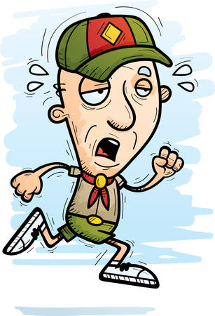 A cartoon illustration of a senior citizen man scout running and looking exhausted.