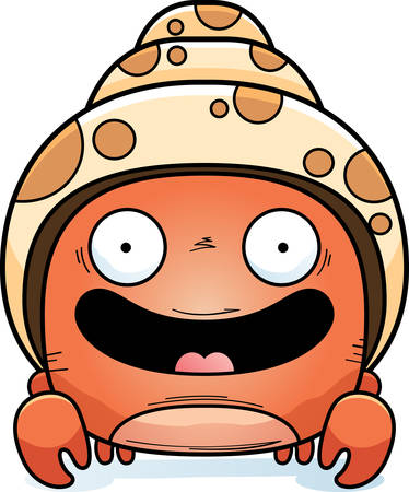 A cartoon illustration of a hermit crab smiling. Illustration