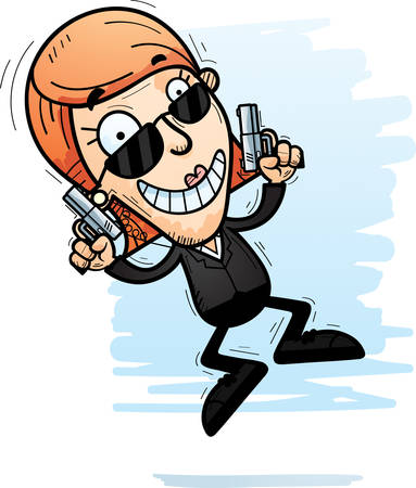 A cartoon illustration of a woman secret service agent jumping. Illustration