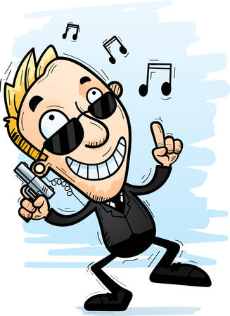 A cartoon illustration of a man secret service agent dancing.
