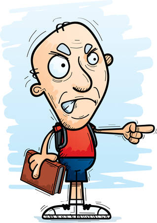 A cartoon illustration of a senior citizen man student looking angry and pointing.