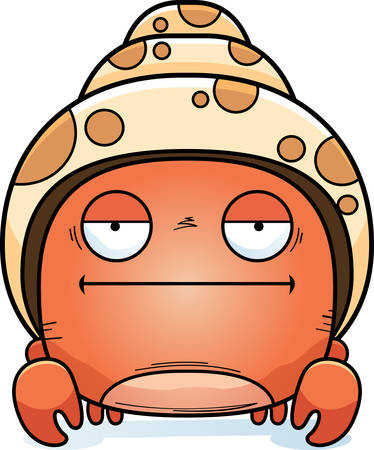 A cartoon illustration of a hermit crab looking bored.