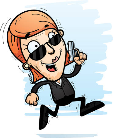 A cartoon illustration of a woman secret service agent running. Ilustrace