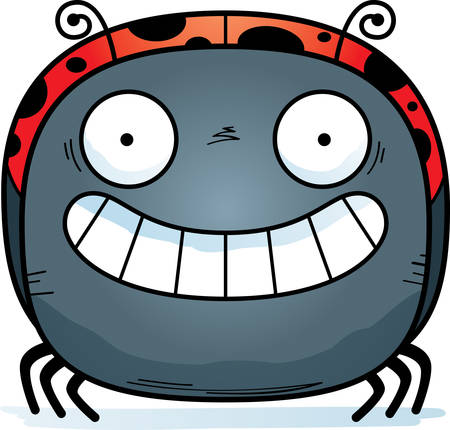 A cartoon illustration of a ladybug looking happy. Ilustrace