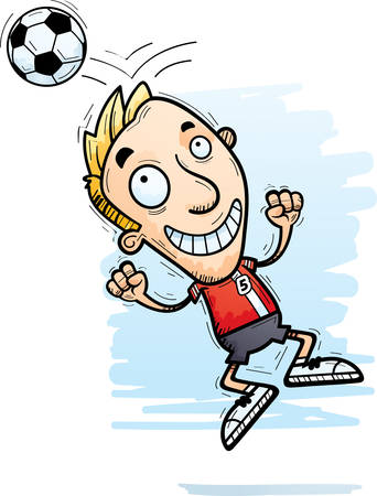 A cartoon illustration of a man soccer player jumping and heading a soccer ball.