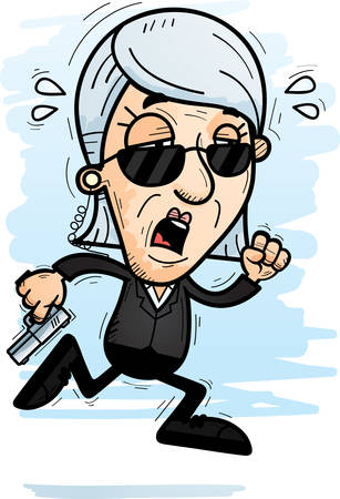 A cartoon illustration of a senior citizen woman secret service agent running and looking exhausted. 向量圖像