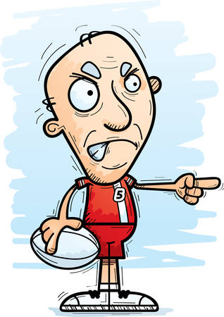 A cartoon illustration of a senior citzen man rugby player looking angry and pointing.