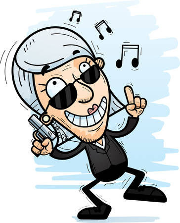 A cartoon illustration of a senior citizen woman secret service agent dancing.