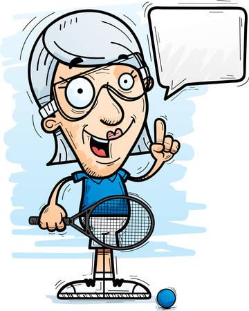 A cartoon illustration of a senior citizen woman racquetball player talking.
