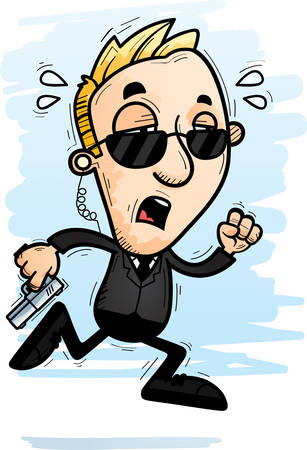 A cartoon illustration of a man secret service agent running and looking exhausted. Illustration
