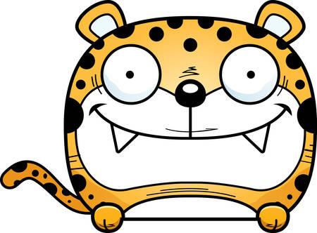 A cartoon illustration of a leopard cub peeking over an object. Archivio Fotografico - 102158935