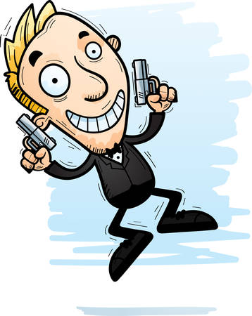 A cartoon illustration of a spy jumping.