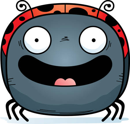 A cartoon illustration of a ladybug smiling.