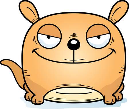 A cartoon illustration of a sinister looking little kangaroo.