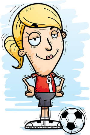 A cartoon illustration of a woman soccer player looking confident. Illustration