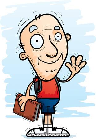 A cartoon illustration of a senior citizen man student waving.